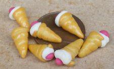 1:12 Scale 7 Small Loose Cherry Cream Horns Tumdee Dolls House Bakery Cakes PL71
