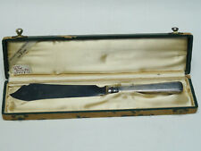 "ANTIQUE c. 1860 COHR RAADVAD STERLING DENMARK SERVING KNIFE w/ BOX ~ 11.5"""