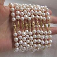 """10pcs wholesale 7.5-8"""" Baroque 10-11mm White South Sea pearl bracelet 14K Clasp"""