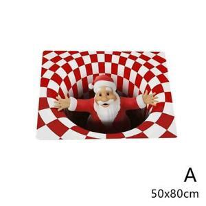 3D Christmas Printed Vortex Illusion Anti-slip Room Rug Carpet Floor Door Mat
