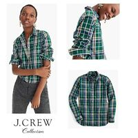 J Crew Women's Size 4 Classic Fit Button Down Blouse Shirt Top Green Tulsa Plaid