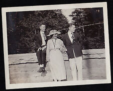 Vintage Antique Photograph Woman in Cool Hat & Two Men All Looking To the Side