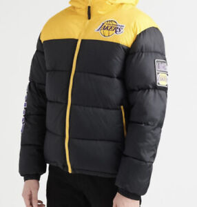 NWT NBA UNK Los Angeles Lakers Bubble Puffer Hooded Jacket Men Lebron James L