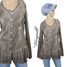 BODY NEEDS Romantik Used Look Rüschen Sweatshirt Tunika Longshirt Shirt Gr.38 40