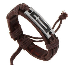 Wholesale 12pcs Handmade Leather Stainless Cross Accessories Bracelet for Gift