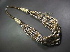 N4781 BOLD Ethnic Brown color Multi Strand Bone LONG Tribal Necklace FASHION