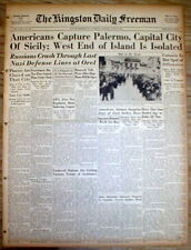 1943 WW II headline display newspaper US FORCES CAPTURE PALERMO Sicily in ITALY