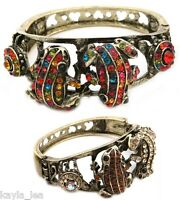 *5 Colors* 2-Tone Rhinestone Double Frog/Toad Love Hearts Bracelet