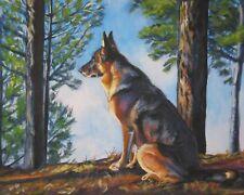 GERMAN SHEPHERD 8X10 CANVAS PRINT painting dog LSHEP