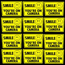 12 YELLOW SMILE YOURE ON SECURITY VIDEO SURVEILLANCE CAMERAS WARNING STICKERS