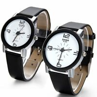 Mens Womens Black Leather Band Quartz Analog Casual Bracelet Quartz Wrist Watch