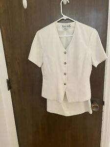 Victoria Holley white summer suit, size 6