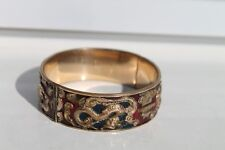 Antique Authentic Hand Made Charming Gold Plated Enamel Woman Chain Bracelet.