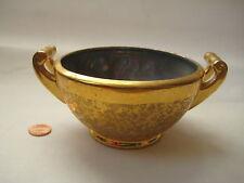 antique porcelain iridescent gold SUGAR BOWL vtg carnival glass ? luster Clare