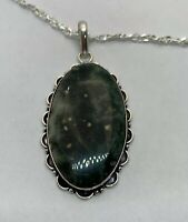 """925 Sterling Silver Large Oval Black Agate Pendant Necklace 19"""""""
