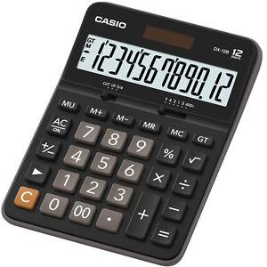 CASIO DX-12B Calcolatrice da Tavolo Grande Formato 12 Cifre Solare/Batteria