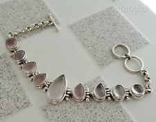 Nine Rose Quartz Solid Silver, 925 Bali Handcrafted Bracelet 35116