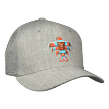 Totem Pole Eagle Design Hat - Heather Grey Curved Bill Trucker Hat