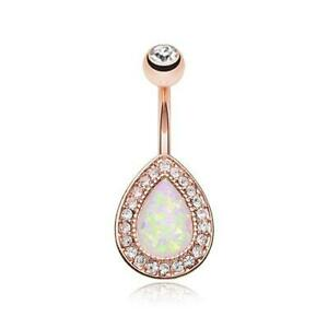 Rose Gold Opal Avice Belly Ring Black Clear Fancy Dangle Beautiful Sexy CZ Gem