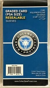 PSA Graded Card Poly Bags 100 Sleeves SNUG FIT PSA SKIN TIGHT FOR PSA SLABS