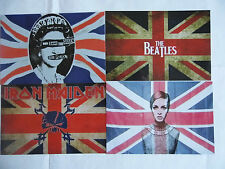 FOUR UNION JACK PHOTOS SEX PISTOLS,BEATLES IRON MAIDEN & TWIGGY