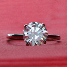 Round Cut Solitaire 5.00Ct Diamond Engagement Solid 14K White Gold Ring Size R