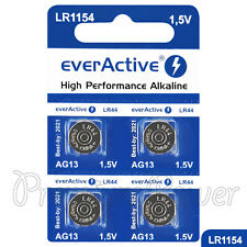 4 x everActive AG13 LR44 Alkaline batteries LR1154 A76 SR41 1.5V GREAT VALUE