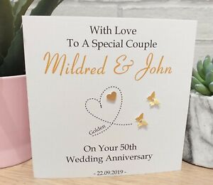 Personalised Golden 50th Wedding Anniversary Card Special Couple Wife Husband