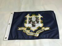 "Connecticut 1895 State  Super Polyester Boat Car Flag  3 Grommets 12"" X 18"""