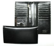 Pocket Secretary Style Credit Card Wallet - Black Leather - New