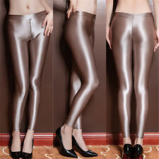 Womens Front Zipper Shiny Wet Look Leggings Slim Trousers Skinny Stretchy Pants
