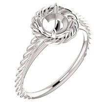 14k White Gold Semi Mount Setting Halo Rope Style Engagement Ring Round Diamond