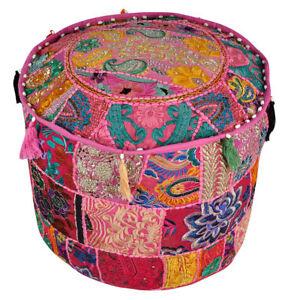 """Indien Vintage 100% Cotton Pouf Patchwork Ottoman Stool Pouf Pouffe Cover 18"""""""