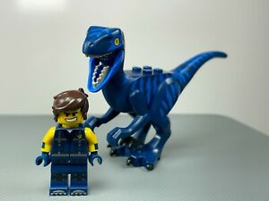 LEGO Raptor Velociraptor Dinosaur Blue Markings & Rex Dangervest Minifigure Lot