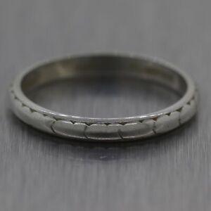 10/29/1927 Antique Art Deco Platinum Wedding Band Ring