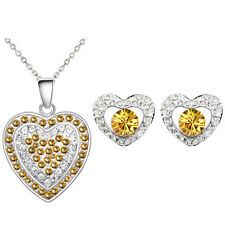 Yellow Topaz Ochre Full of Rhinestones Silver Hearts Earrings Necklace Set S979