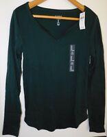NWT GAP Women's Favorite LS T-Shirt Notch Neck Green XS S M Free Shipping NEW