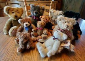 Lot Of 10 TEDDY BEAR Collection Ganz, Boyds, Gund, Russ