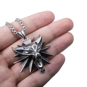 Witcher Wolf Head Medallion Stainless Steel Pendant Necklace Set