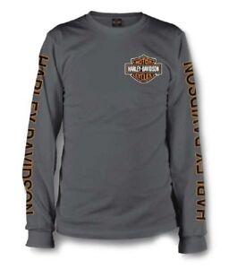 Harley-Davidson Men's Long Sleeve Orange Bar & Shield Grey Shirt 30291963