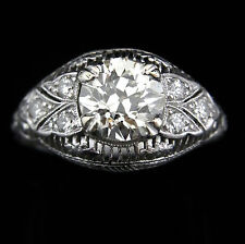 Edwardian 1.9 Old Euro Cut Diamond Platinum Ring Engagement Certified Apr$12,650