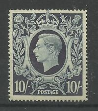 1939/48 Sg 478, 10/- Dark Blue Arms Issue, Lightly Mounted Mint with Gum.