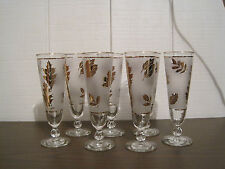 VINTAGE FROSTED GOLD LEAF TALL GOBLET GLASSES