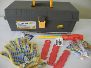 "Plano 15"" Tool Box Bundle - Earplugs / Gloves/ Box End Wrench / Nut Driver"