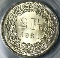 1961 PCGS MS 67 Switzerland 2 Francs Mint State Swiss Coin (20122901C)