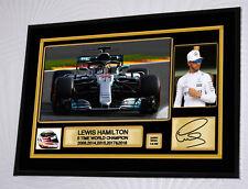 Lewis Hamilton F1 Mercedes 5 Times 2018 World Champion Framed Canvas Signed #4