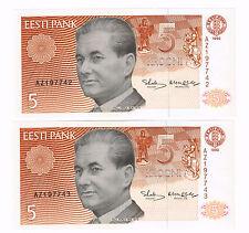 2 X ESTONIA BALTIC STATE 1991 5 KROONI P KERES FORTRESS NARVA RIVER p.71a UNC