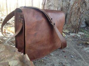 """New 15"""" Men's Vintage Leather Full Flap Messenger Laptop Satchel Shoulder Bag"""