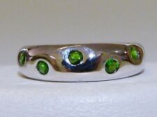 GENUINE 0.45tcw Russian Chrome Diopside Hammer Set Band Solid S/Silver 925!!