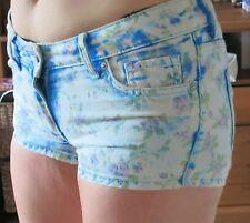 H&M floral print retro denim jeans shorts blue and pastel flowers low rise UK 14